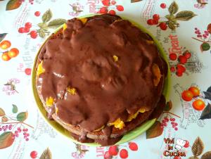 torta all'arancia con colata di cioccolata