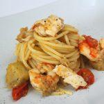Spaghetti orata, gamberoni e melanzane