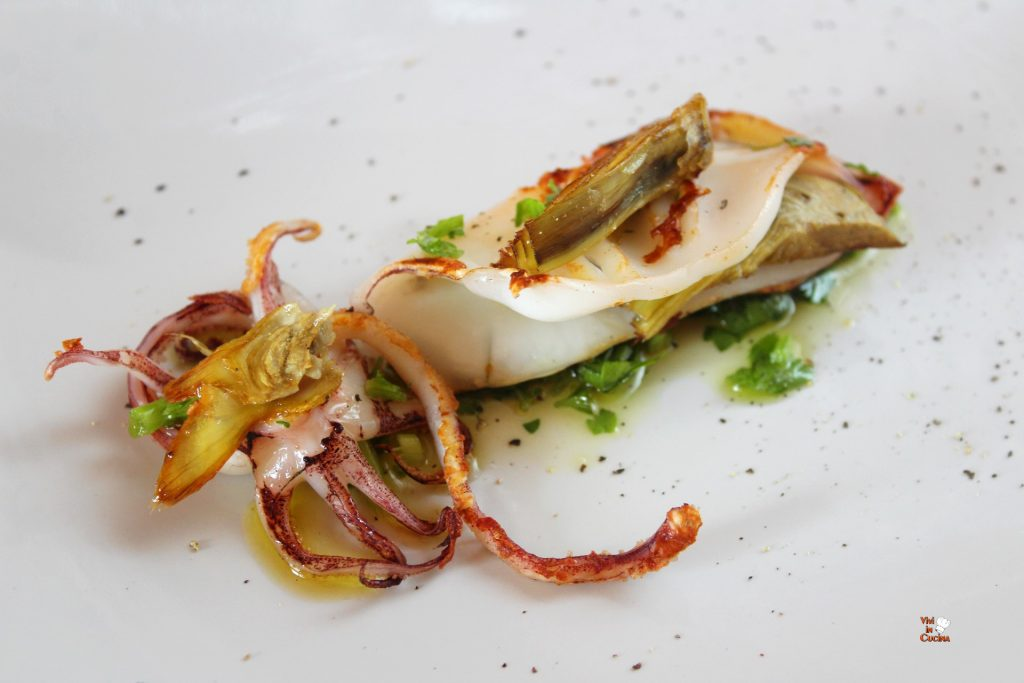 calamaro arrosto e carciofi
