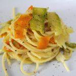 Spaghetti con tris di verdure
