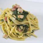 Spaghetti cime di rapa, pancetta e gorgonzola